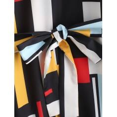 Belted Buttoned Sleeve Tabs Geometric Mini Dress - Multi S