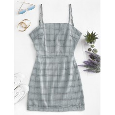 Knotted Back Checked Cami Dress - Blue Gray M