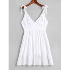 Open Back Tied Straps Surplice Mini Dress - White S