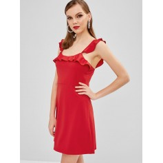 Ruffles Sleeveless A Line Dress - Ruby Red S
