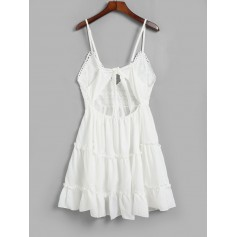 Knotted Back Crochet Panel Flared Cami Dress - White S