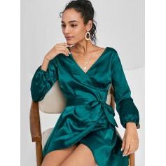 Long Sleeve Wrap Mini Satin Dress - Greenish Blue S