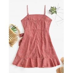 Overlap Ruffles Raindrop Print Cami Dress - Light Coral S