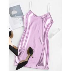 Metallic Cami Mini Party Dress - Mauve S