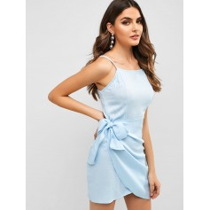 Overlap Knotted Cami Dress - Blue S