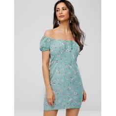 Off Shoulder Bowknot Floral Print Dress - Dark Sea Green L